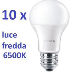 set da 10 pz PHILIPS LED Lampadina  E27 Goccia 13W = 100W 6500K luce fredda