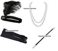 Flapper Charleston Gatsby Headband Beads Gloves Cig Holder Kit 1920s Fancy Dress
