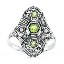 Genuine Peridot And Pearl Antique Deco Design .925 Silver Ring Size 8, #37