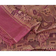 "Sanskriti Vintage 100% Pure Silk Woven Purple Fabric Decor Craft 30"" X 43"""