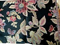 1 1/2 Yds Heavy Tapestry Style Black Ground With Floral Upholstery Fabric