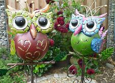 Garten Figur 2er Set kleine freche Eule Metall bunte Deko Vogel Gartenstecker A