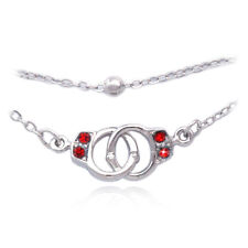 Red Crystal Handcuffs Charm Bracelet Bead Link Double Chain Jewelry