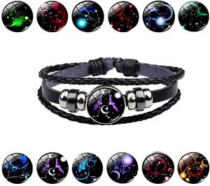 Men Women Leather Luminous 12 Horoscope Zodiac Birth Sign Wristband Bracelet