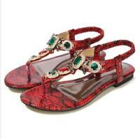 Rhinestones Summer Womens Sandals Slingbacks Shoes Low-Heels Flip Flops Loafers