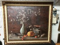 "Original Oil Painting Signed Still Life Framed 33x29"" Asian Artist"