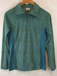 Columbia Womens Pullover Medium Fleece 1/4 Zip Top Shirt Jacket Blue Green Teal