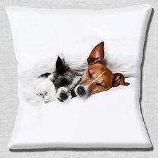 "Two Jack Russell Dogs 16""x16"" 40cm Cushion Cover Cute Sleeping & Cuddling Dogs"