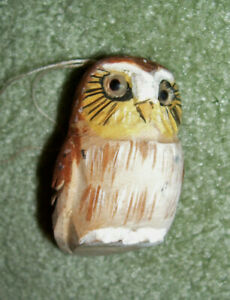 OWLS! Hand carved wooden owl Christmas ornament