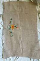 VINTAGE 1970s Beige Linen Look Floral Embroidered Tablecloth Table Centre
