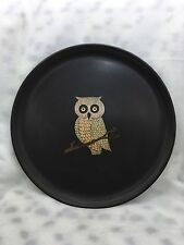 "Vintage Couroc 10.5"" Round Inlaid Owl Satin Black Serving Tray"