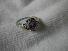 10k Gold Sterling Silver Diamond Amethyst Ring