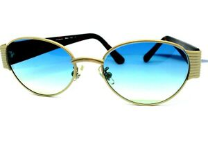 Sunglasses View Vintage CUSTOM Retro Man Oval METALLO Lens Blue Yellow