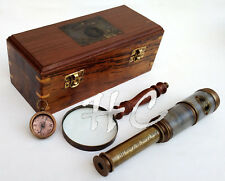 Brass Edward Vill Telescope With Marine Compass & Magnifying Glass In Wooden Box