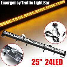 New 24LED 25''Emergency Traffic Light Bar Warning Flash Strobe 12V Amber Vehicle