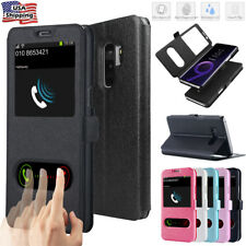 Samsung Galaxy s10+ S9 Plus S8 S7 Stand Flip Leather Window View Case Slim Cover