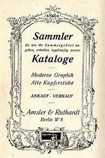 Amsler & Ruthardt Berlin MODERNE GRAPPHIK u. ALTE KUPFERSTICHE  Reklame von 1921
