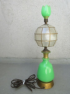 "VTG COLLECTIBLE ANTIQUE 18.75"" JADEITE LEVITON LAMP BASE TULIP JADEITE FINIAL"