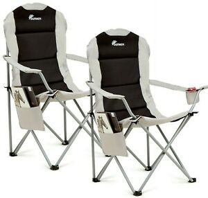 Set of 2 Padded Folding Camping Chair With Cup Holder Side Pocket Grade A Refurb