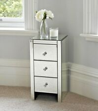 Mirrored Bedside Table Cabinet 3 Drawers Stylish Italian Bedroom Home Furniture