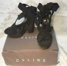 Rare Celine Wedge Sole Lace-up Sandals Black L Made in Italy Suede Unused 773/MN