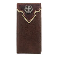 Mens Western Cowboy Wallet Genuine Leather Wallet Long Bifold Wallet for Men
