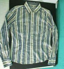 Womens Girls Tommy Hilfiger Long Sleeve Blouse Shirt Top Blue Tan Striped Size 4