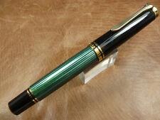 PELIKAN SOUVERAN M1000 BLACK/GREEN FOUNTAIN PEN 18K GOLD MEDIUM NIB NEW IN BOX