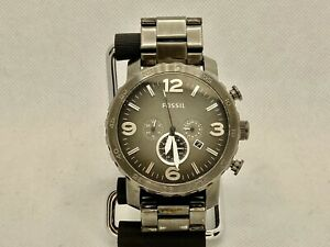 Fossil Nate 48mm Watch For Men. Chrono/date. Gray SS. New Battery. No WR