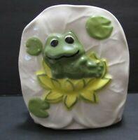 Vtg Frog Kitchen Napkin Holder Ceramic 1970s Hand Painted Throwback 3 Dimension