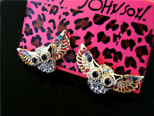 Betsey Johnson Charm jewelry fashion Color crystal owl earrings banquet