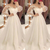 Women Lace Sheer Long Maxi Dress Bride Wedding Evening Party Gown Cocktail Prom