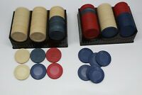 163 Vintage Poker Chips Plain and Sailboat chips Red, Tan and Blue with holders