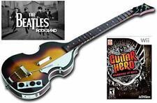 NEW Nintendo Wii Beatles Rock Band Hofner Bass & Guitar Hero Warriors of Rock
