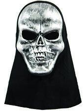 Halloween Adult Silver Skull Skeleton Fancy Dress Mask With Hood