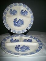 """2 MADE IN USA GRILL PLATES BLUE WILLOW DESIGN RESTAURANT WARE 11"""" DIAMETER"""