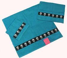 3 Betsey Johnson TOTALLY SKULLS Turquoise White Skull Bath/Hand/Fingertip Towels