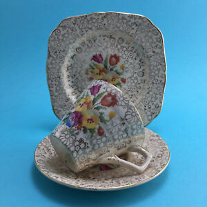 1940s H&K Tunstall Petit Point Chintz Tapestry Sampler Cup Plate Saucer Trio