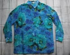 TravelSmith Shirt Top Blouse Semi Sheer Blue Floral Button Up Sz L 14-16 NWOT