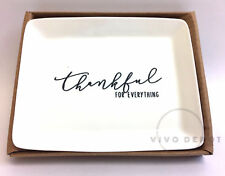 "Mudpie Thankful for Everything White Porcelain Dish - 4"" x 5"""