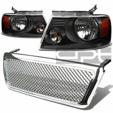 FOR 04-08 FORD F-150 CHROME GRILL COVER+BLACK HEAD LIGHTS AMBER REFLECTOR LENS