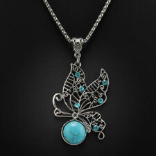 Stylish Bib Necklace with Tibetan Silver Turquoise Butterfly Pendant (45+6cm)