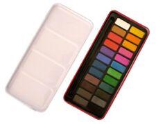 Watercolour Paint Tin Block Set - 24 Colours - Palette In Lid - Major Brushes