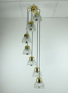 mid century PENDANT LIGHT cascading lamp 7 flower-shaped glass shades and brass