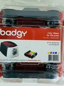 Badgy 100 200 Color Ribbon 1 Clr Rib 100 Prints Evolis Cbgr0100C ink replacement
