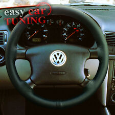 FOR VW GOLF MK4 IV 4 BLACK REAL GENUINE ITALIAN LEATHER STEERING WHEEL COVER