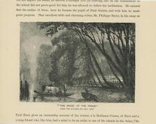ANTIQUE THE WOOD HAGUE ROW BOAT QUARTER MOON PRIMITIVE TREES SMALL OLD ART PRINT