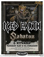 ICED EARTH / SABATON / REVAMP 2014 SEATTLE CONCERT TOUR POSTER-Heavy Metal Music