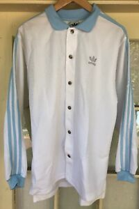 Adidas Button Down Warm Up Jacket Baby Blue & White Size XS