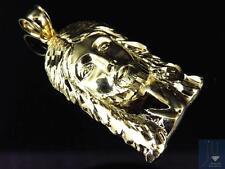 Nuevo Original 10k Oro Amarillo Mini Talla Diamante Jesús Charm Colgante 3.8cm